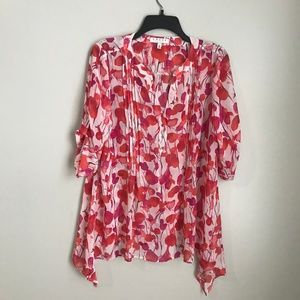 Chaus New York Sheer Floral Pleated Blouse